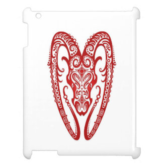 Intricate Red Aries Zodiac on White iPad Case