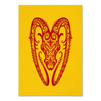Intricate Red Aries Zodiac on Yellow 3.5x5 Paper Invitation Card