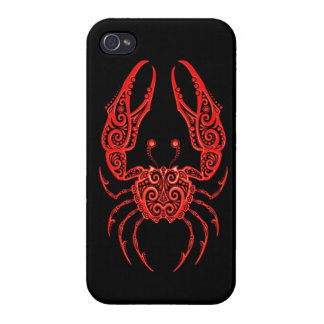 Intricate Red Cancer Zodiac on Black Cover For iPhone 4