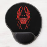 Intricate Red Cancer Zodiac on Black Gel Mouse Pad