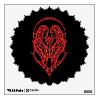 Intricate Red Gemini Zodiac on Black Wall Decor
