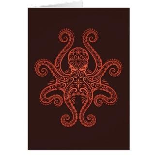 Intricate Red Octopus Card