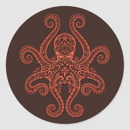 Intricate Red Octopus Classic Round Sticker