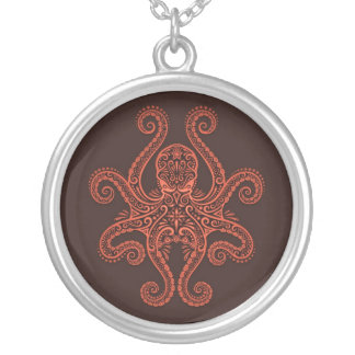 Intricate Red Octopus Round Pendant Necklace