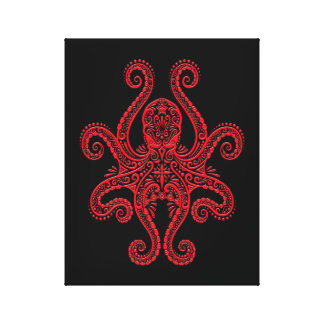 Intricate Red Octopus on Black Canvas Print