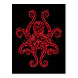 Intricate Red Octopus on Black Postcard
