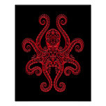 Intricate Red Octopus on Black Poster