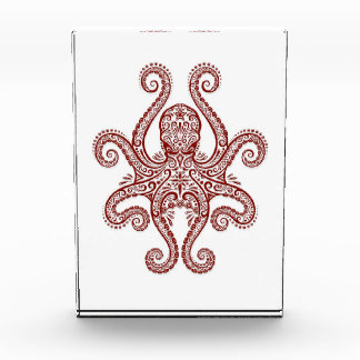 Intricate Red Octopus on White Acrylic Award