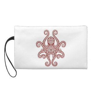 Intricate Red Octopus on White Wristlet Clutch