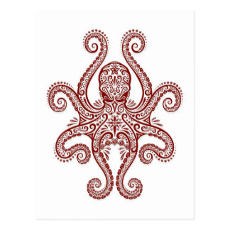 Intricate Red Octopus on White Postcard