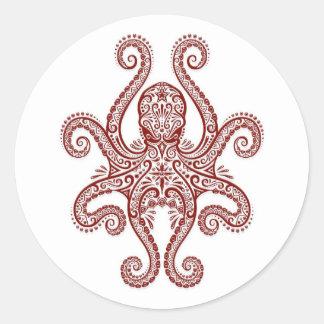 Intricate Red Octopus on White Round Sticker