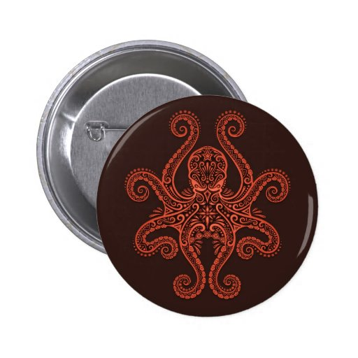 Intricate Red Octopus Pinback Buttons