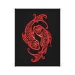 Intricate Red Pisces Zodiac on Black Stretched Canvas Print
