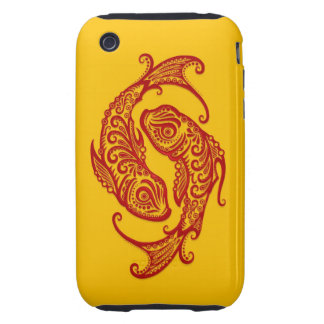 Intricate Red Pisces Zodiac on Yellow iPhone 3 Tough Cover