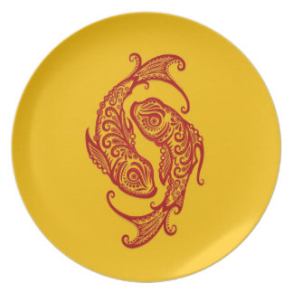 Intricate Red Pisces Zodiac on Yellow Plate