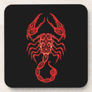 Intricate Red Scorpio Zodiac on Black Beverage Coaster