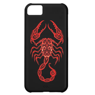 Intricate Red Scorpio Zodiac on Black Cover For iPhone 5C
