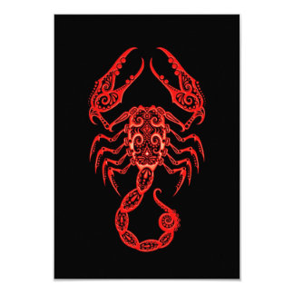 Intricate Red Scorpio Zodiac on Black 3.5x5 Paper Invitation Card
