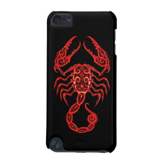 Intricate Red Scorpio Zodiac on Black iPod Touch (5th Generation) Cases