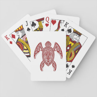 Intricate Red Sea Turtle on White Card Decks