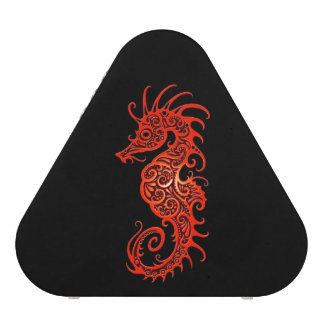Intricate Red Seahorse Design on Black Bluetooth Speaker