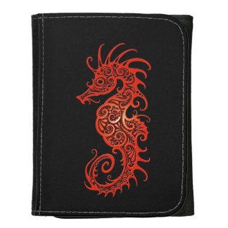 Intricate Red Seahorse Design on Black Wallet