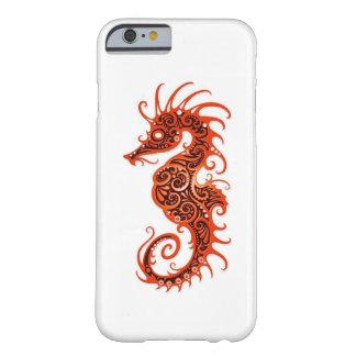 Intricate Red Seahorse Design on White Barely There iPhone 6 Case