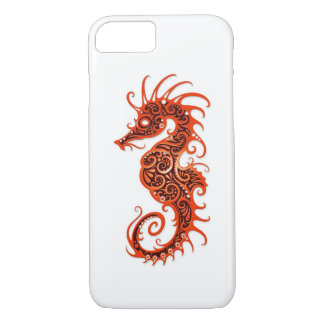 Intricate Red Seahorse Design on White iPhone 7 Case