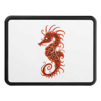 Intricate Red Seahorse Design on White Tow Hitch Cover