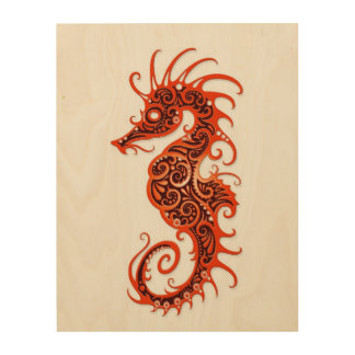 Intricate Red Seahorse Design on White Wood Wall Art