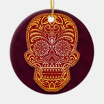Intricate Red Sugar Skull Christmas Ornament