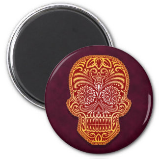Intricate Red Sugar Skull Magnet