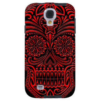 Intricate Red Sugar Skull on Black Galaxy S4 Case