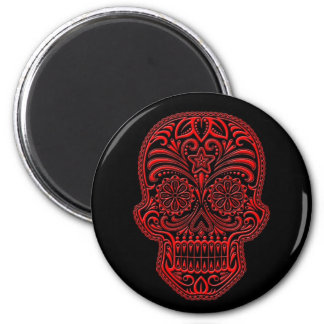 Intricate Red Sugar Skull on Black Magnet