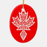 Intricate Red & White Canadian Maple Leaf Christmas Ornaments