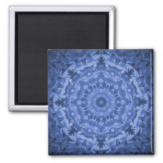 Intricate Royal Blue Kaleidoscope 2 Inch Square Magnet
