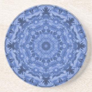 Intricate Royal Blue Kaleidoscope Sandstone Coaster