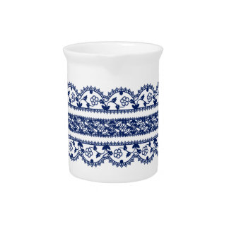 Intricate Royal Blue Lace on White Beverage Pitcher