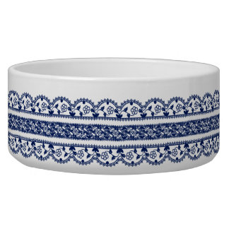 Intricate Royal Blue Lace on White Bowl