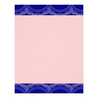 Intricate Royal Blue Pattern Customized Letterhead