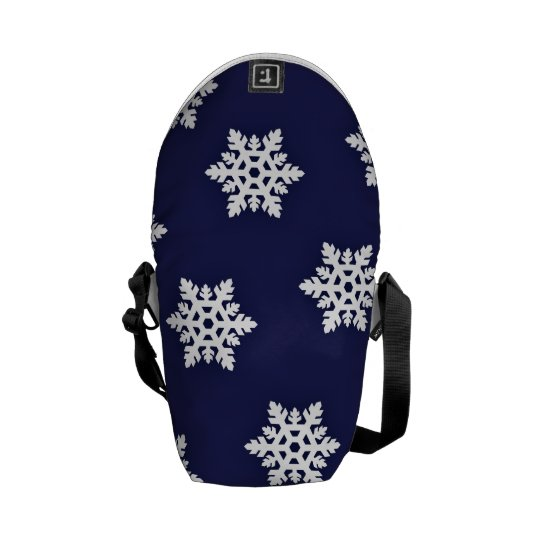 Intricate Snowflakes Against Royal Blue Messenger Bag