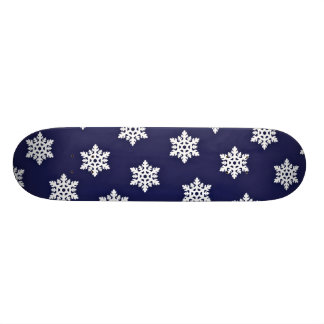 Intricate Snowflakes Against Royal Blue Skateboard