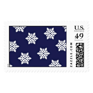 Intricate Snowflakes Against Royal Blue Stamps