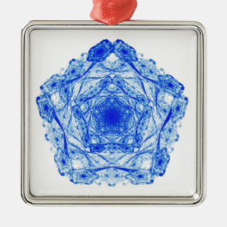 Intricate Snowflakes in the Shape of Pentagons Metal Ornament