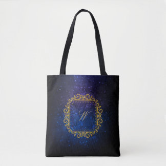 Intricate Square Monogram on Blue Galaxy Tote Bag