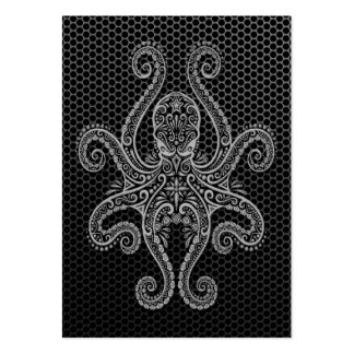 Intricate Steel Mesh Octopus Business Card Templates