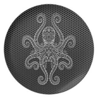 Intricate Steel Mesh Octopus Melamine Plate