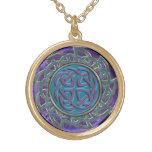 Intricate Stone and Metal Celtic Knot Mandala Gold Finish Necklace
