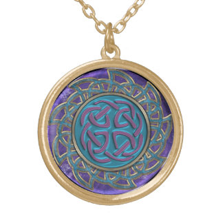 Intricate Stone and Metal Celtic Knot Mandala Gold Plated Necklace