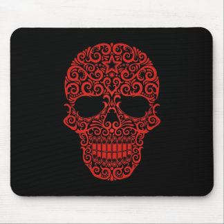 Intricate Sugar Skull – red & black Mouse Pad